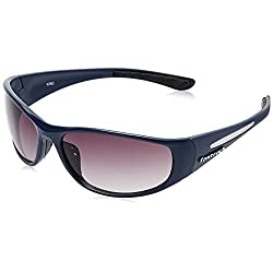 FASTRACK (P120BK2) WRAPAROUND Style Full-Rimmed, Blue color Sunglasses with Black colored LENS, For Men & Women