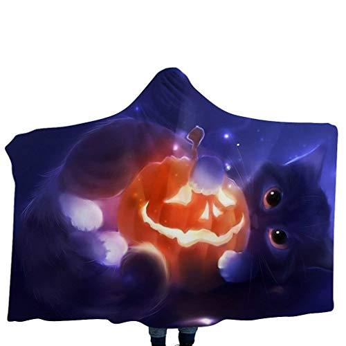 GJKK Halloween Kürbis/Schädel Funny Muster Cap Umhang mit Kapuze Kuscheldecke Decke Kinderdecken mit Kapuze Schal Halloween Kostüme für Kinder (Märchen Zauberin Für Erwachsenen Kostüm)