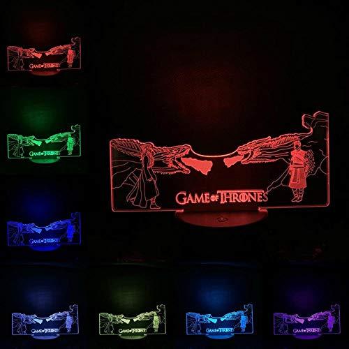 sanzangtang LED Nachtlicht 3D-Vision-Sieben Farben-Fernbedienung-Spiel Iron Dragon Light Illusion Nachtlicht Multicolor Haushaltsspielzeug NachttischdekorationKindernachtlichtprojektor