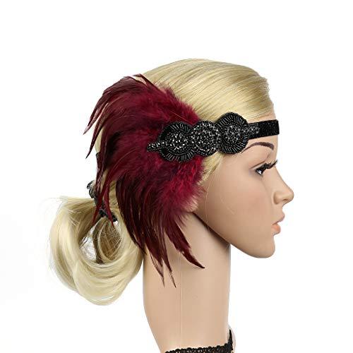 Mitlfuny Karnevalsparty Fancy Festival Zubehör,Kopfschmuck Flapper Stirnband Kopfschmuck Feder Girlande Mädchen Stirnband