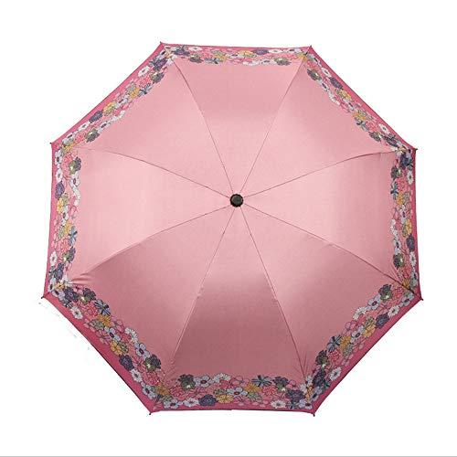 LZX Klappschirm kleine frische Sonnencreme Regenschutz und Regen Dual-Use-schwarzer Plastiksonnenschirm,Pink