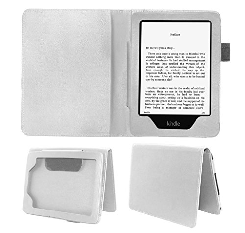 """Rich Case Flip Tablet Pu Leather Book Cover For Kindle E-Reader 6"""" Paperwhite - White"""