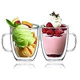 verres à eau,boqo double paroi de verre tasses permettant de contenir 400ml,set de 2 mugs