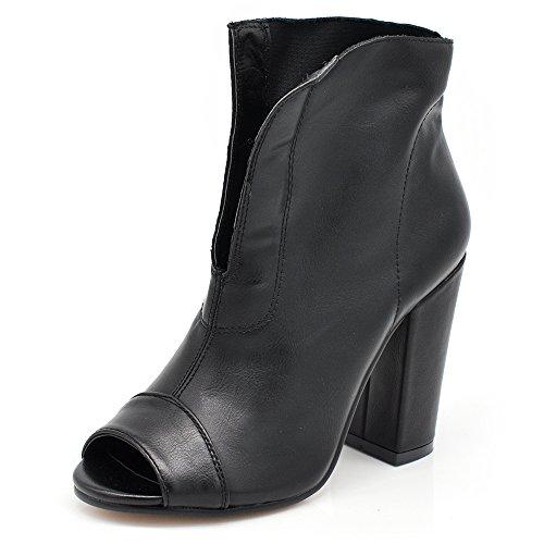 If Fashion Scarpe da Donna Stivali Stivaletti Primaverili Estivi Tacco Grosso Tronchetti Spuntati 9221 Nero 36