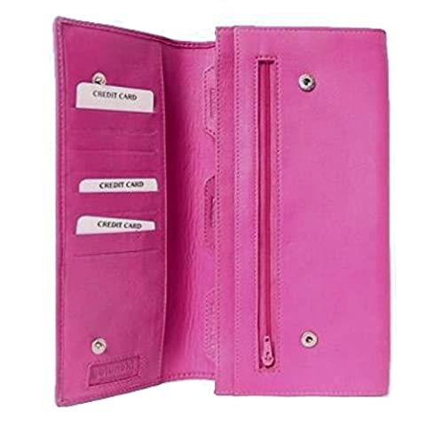 Leather Travel Document Wallet / Organiser / Case (Bright Pink)