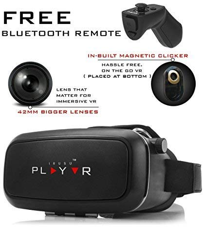 Irusu IR_002 PLAY VR Headset with Upgraded 42mm Adjustable Lenses, Bluetooth Remote and Magnetic Clicker for Android and iOS Smartphones (Black)