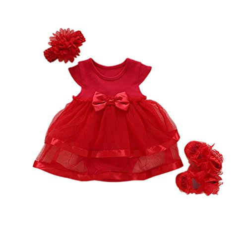 Romsion Baby-Mädchen-Spitze-Partei-Hochzeits-Kleid-Kleid mit Stirnband und Schuhen eingestellt