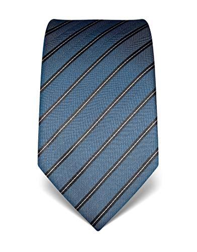 Vincenzo Boretti Herren Krawatte reine Seide gestreift edel Männer-Design zum Hemd mit Anzug für Business Hochzeit 8 cm schmal/breit blau