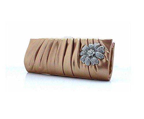 Lady Bag Cena Cosmetici Di Telefonia Mobile Del Sacchetto Della Signora Frizione Della Borsa Di Seta Fogliame Signore Gold