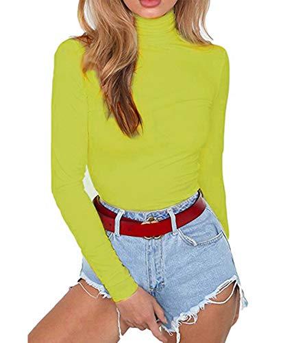 Smile Fish Damen Langarm Body mit Rundhalsausschnitt elastisch Stilvoller Verschluß-Haken schicker Unterzieh-Body Tops für Frauen (Neon Grün, Small) -
