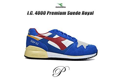 Diadora, Homme, Ic 4000 Premium, Cuir / Suède, Baskets, Rouge Nautique Bleu / Rouge Pompéien