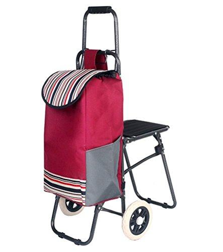 Warenkorb Räder Einfach (Die Trolley mit Sitz Trolley Warenkorb Supermarkt Funny Grocery Faltbare Warenkorb mit Rädern Einfache Lagerung Klappstuhl Einkaufswagen , red)