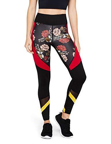 Floral Print Leggings (AURIQUE Damen Sport Leggings mit hohem Bund und Colour-Block-Design, Schwarz (Black/Red Floral Print), 36 (Herstellergröße:S))
