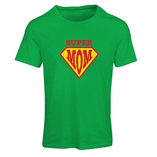 Frauen T-Shirt Super MOM - für Frau Geschenke Frauen (X-Large Grün Mehrfarben)