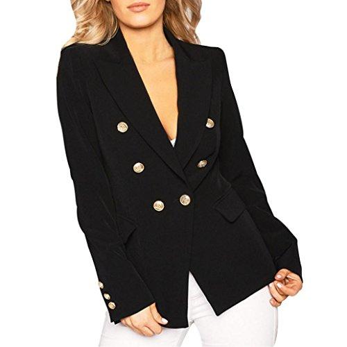 Breasted Blazer (Longra Damen Herbst Frühling Jacke Double breasted Gold Knopf Front Military Style Coole Blazer Jacke Kurzjacke Mantel Coat leichte steppjacke für damen (XL, Black))