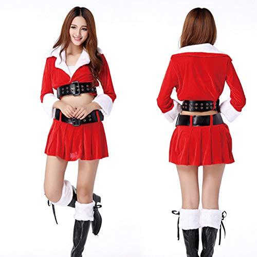 GSDZN - Adult Fräulein Damen Damen Sankt-Kostüm, Weihnachtskostüme, Top, Rock, Gürtel, Weihnachten, Eine Größe, F,Red