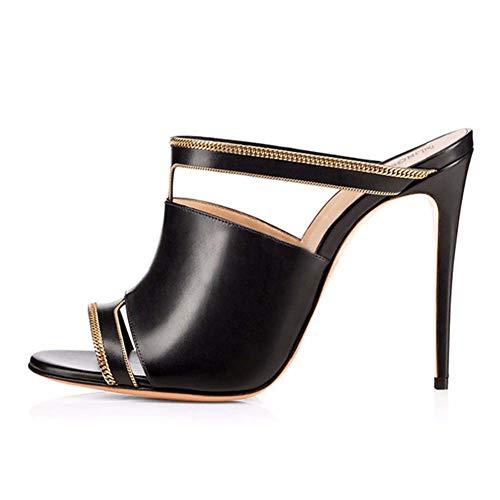 XLY Damenmode Sexy Open Toe Pantoletten, Stiletto High Heel Slipper Kleid Sandalen Hausschuhe,Black,45 -
