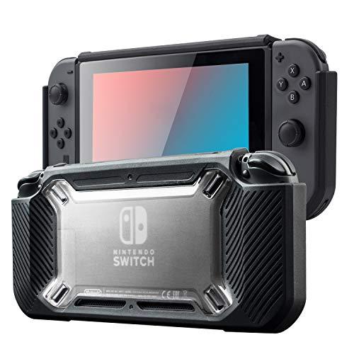 Schutzhülle für Nintendo Switch, Tisuges für Nintendo Switch 2017 Release Soft TPU und PC Hard Switch Case Screen Protector Nintendo Switch Zubehör für Switch Game Case (schwarz) -