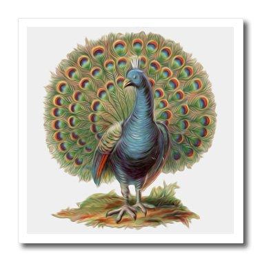 3dRose HT 104603_ 1Lovely Vintage Pfau peacock-iron auf Wärmeübertragung für Material, 820,3cm, Weiß