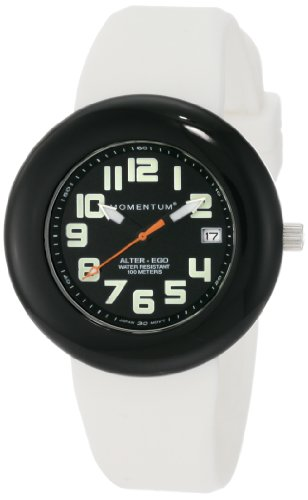 Momentum Ladies 1M-Sp99Bb1W Alter Ego Black Bezel White Band Watch