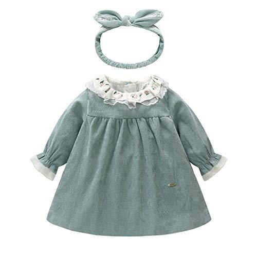 287f83e45 Bebé Niña Vestido con Venda Manga Larga Encaje Princesa Otoño ...