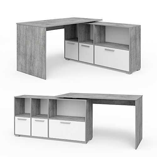 VICCO Eckschreibtisch 136 x 75 cm Weiß / Eiche Sonoma - Schreibtisch Arbeitstisch Winkelschreibtisch Bürotisch (Beton Weiß)