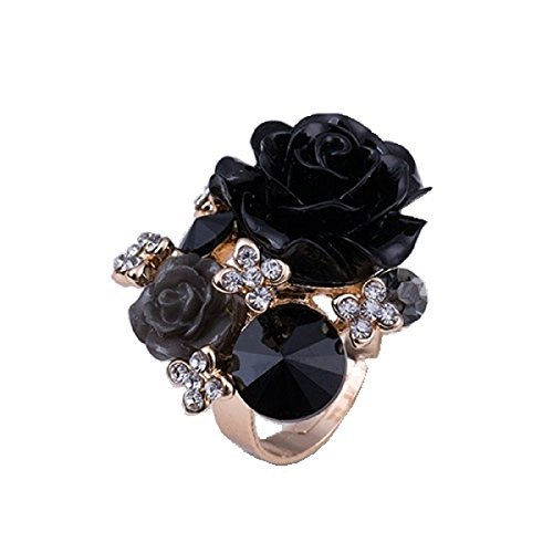 Sansar India Flower Crystal Resizeable Rings for Girls and Women