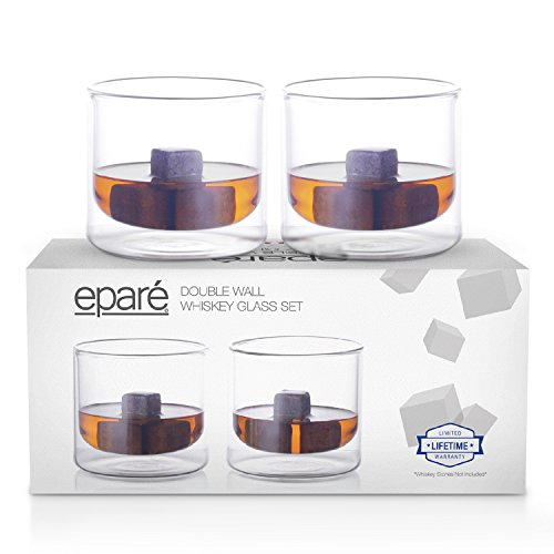 Eparé Insoliteres Whiskey Glas Set (180 ml) - Doppelte Wall Thermik Old Fashioned Tumbler - Eiswürfel Becher zum Trinken von Bourbon, Vodka, Scotch, Cocktails - 2 Low Ball Gläser Old Fashioned Cocktail