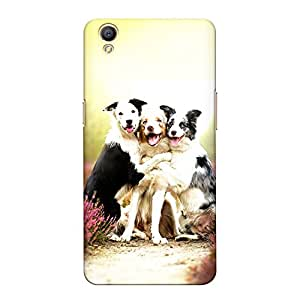 CrazyInk Premium 3D Back Cover for Oppo A37 - Three Dog Friends