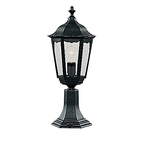 Searchlight 82503BK Alex Black Outdoor Traditional Lantern Post Pedestal Light with Clear Glass 530mm