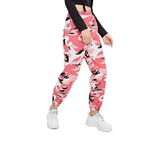 Shawnlen Frauen Camouflage Jogger Hose elastische Taille Floral Sport Hose für Yoga Fitness-Training (XXL, Rosa) (Xxl-rosa-yoga-hosen Für Frauen)