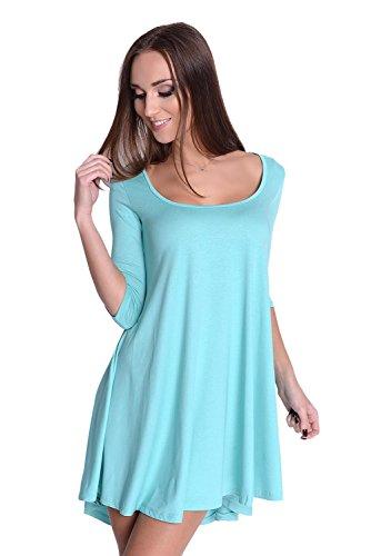 Longshirt weit geschnitten Top 8 Farben Gr. S M L XL, 8164 Mintgrün