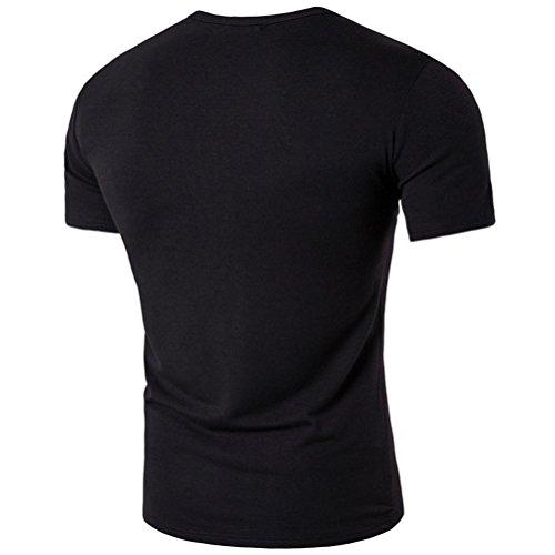 KEERADS Einfarbige T-Shirts mit Rundhalsausschnitt Schwarz