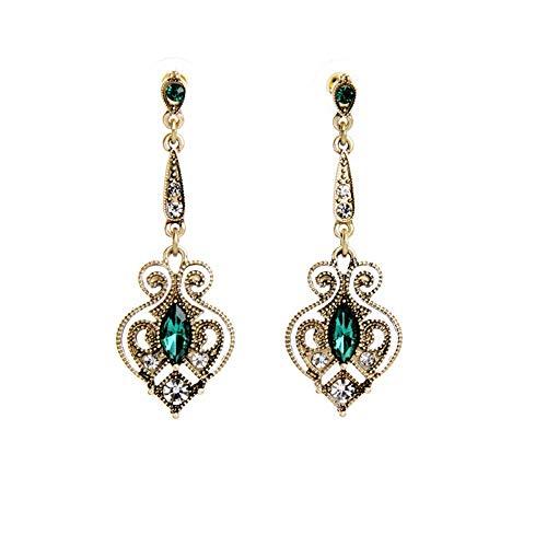 Cyuang Ohrringe Ohrstecker Ohrhänger Mode Viktorianischen Stil Gold Filigrane Spaten Ohrringe Mit Kristall Art Deco Royal Schmuck Für Frauen