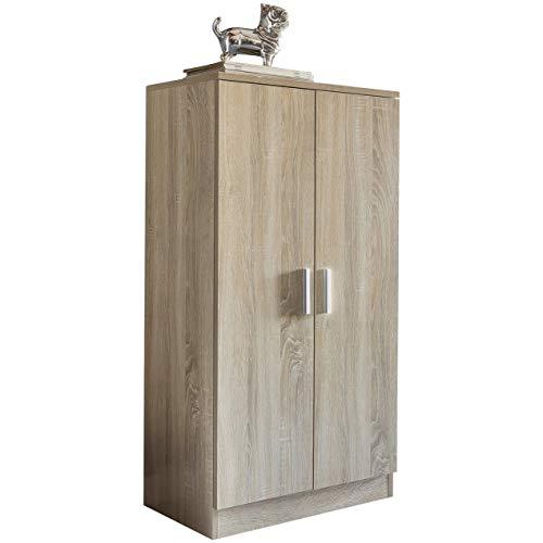 FineBuy Schuhschrank MARTY mit 2 Türen Sonoma 55x108x35 cm Schuhregal Holz geschlossen | Design...