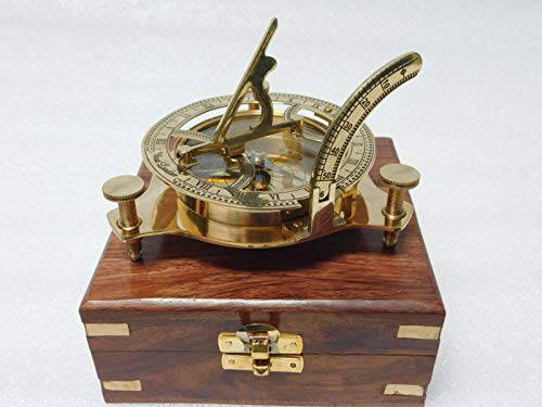 Maritime Compasses Antiques Modest Antique Maritime Brass Compass With Clock In Wooden Box Vintage Nautical Decor
