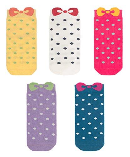 Cotton Novelty Bowtie Seamless Socks 5 Pack for Girls
