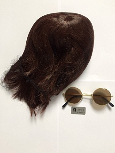 John Lennon Wig And Glasses The Beatles Fancy Dress Yoko Ono Hippy 60's 70's Costume Fun Party Outfit Hair Spectacles by Silver C (Yoko Ono Kostüm)