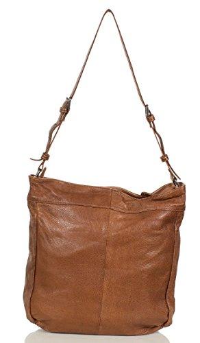 FREDsBRUDER sac bandoulière effet gaufré en cuir ciré doux FS 16 (32x34x9,5 cm) Cognac (Braun)