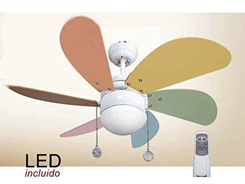 Ventilador de techo infantil 009 LED y CONTROL REMOTO colores pastel, AkunaDecor.