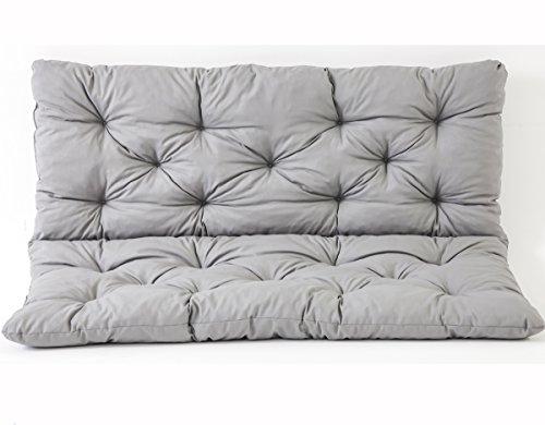Ambientehome 3er Bank Sitzkissen und Rückenkissen Hanko, grau, ca 150 x 98 x 8 cm, Bankauflage, Polsterauflage