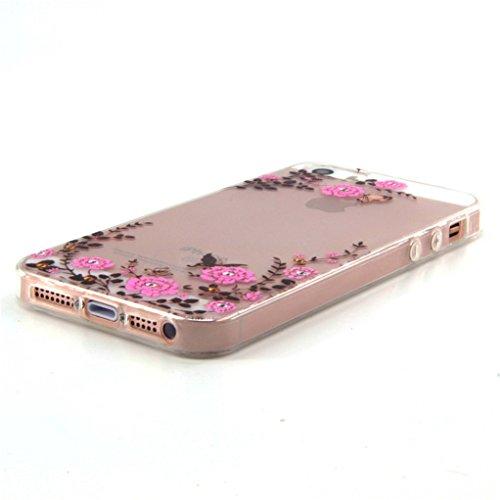 Trumpshop Smartphone Case Coque Housse Etui de Protection pour Apple iPhone 5/5s/SE Série Transparente + Fleur de pêche + Flexible Silicone TPU Anti-rayures Absorption de Choc Jardin Papillon