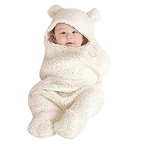 Anmain sacco a pelo neonato, bambino sacco a pelo di lana, morbido e comodo, bambino sleep bags per la nanna, per autunno e inverno (bianco)