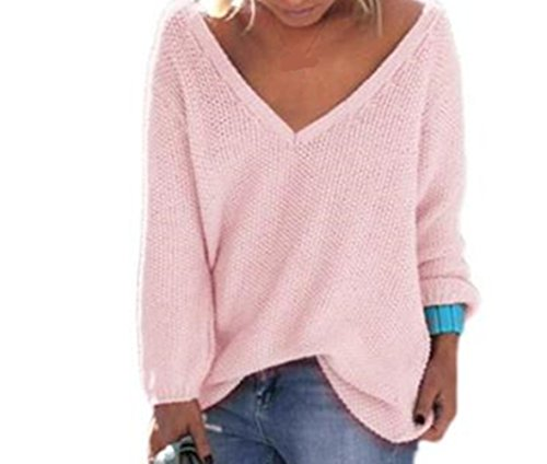 WOCACHI Damen Pullover Frauen Langarm-Strickpullover lose Strickjacke Pullover Sweater Tops Strick (L, Rosa)