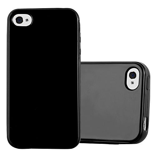 Preisvergleich Produktbild Cadorabo Hülle für Apple iPhone 4 / iPhone 4S - Hülle in Jelly SCHWARZ – Handyhülle aus TPU Silikon im Jelly Design - Silikonhülle Schutzhülle Ultra Slim Soft Back Cover Case Bumper