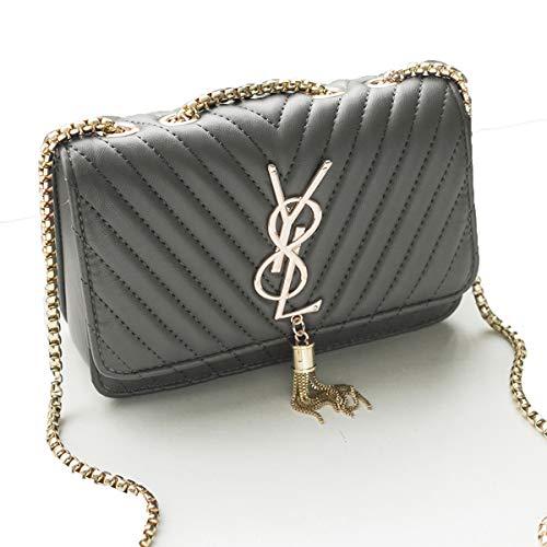2018 Herbst neu Kette Umhängetasche Quaste Handtasche einfache Hülle Tasche eine Schulter Crossbody Tasche Mini quadratische Tasche (Grau, 20cm * 13cm * 7cm)