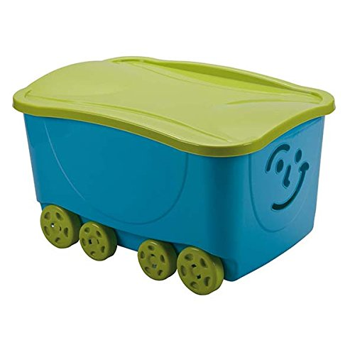 Mondex PLS558-82 Bac de Rangement à Roulettes pour Enfant Plastique Bleu/Vert 58 x 39 x 32 cm