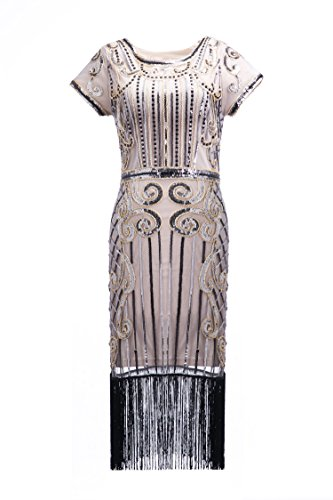 Stil Pailletten Perlen Fransen Flapper Kleid Vintage inspiriert Great Gatsby Kleid Gr. L, Q4 Siliver+gold (Flapper Stil Kleid)
