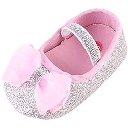 BYSTE Scarpe da Bambino Scarpe da Principessa Bowknot Sneaker Anti Scivolo Fondo Morbido Scarpe per Bambini + Fascia per capelli/2pcs (6-9 Mesi, Argento)