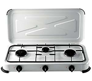 Fornello a gas 3 fuochi per gas bombola colore bianco campeggio giardino casa e cucina - Bombola gas cucina prezzo ...